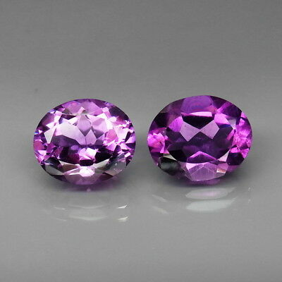 Oval 12x10 mm.PAIR! Real 100%Natural Amethyst Bolivia None Treatment 9.00Ct.