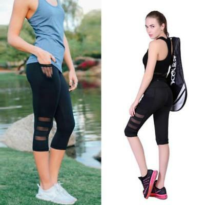 Women Running Yoga Fitness Leggings Gym Slim Capri Sports Pants Trousers CB