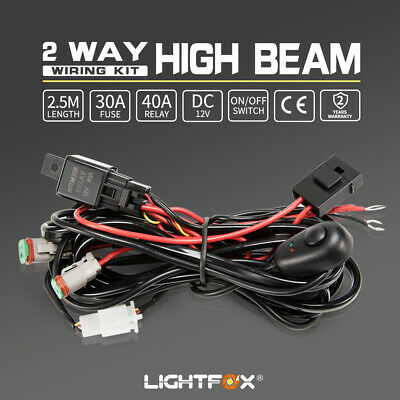 2 Way High Beam Wiring Loom Harness 12V 40A Relay Switch Kit Driving Light Bar