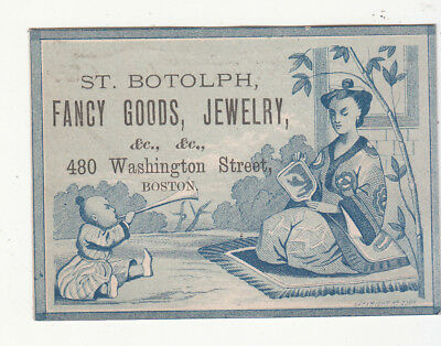 St Botolph Fancy Goods Jewelry Boston MA Chinese Mother Baby Vict Card  c1880s