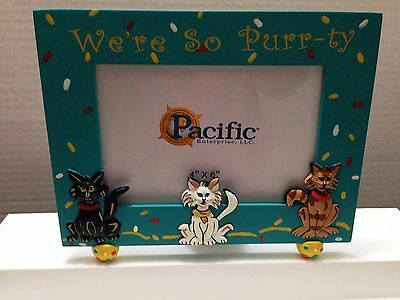 """Cat Picture Frame We're So Purr-Ty Turquoise For 4"""" X 6"""" Photo Hand Painted"""