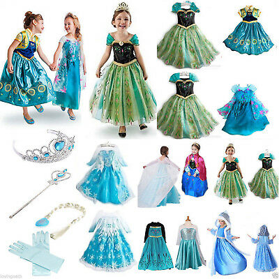 Frozen Mädchen Kostüm Elsa Tüll Kleid Kostüm Cosplay Party Dress Eiskönigin Anna