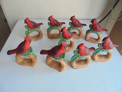 Holiday Christmas Red Cardinal Bird Ceramis Napkin Rings Set 9