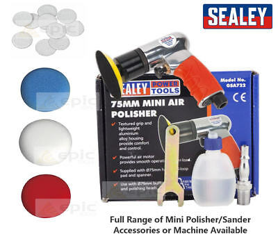 Sealey GSA722 75mm Mini Hook & Loop Air Polisher/Buffer or Buffing/Sanding Pads