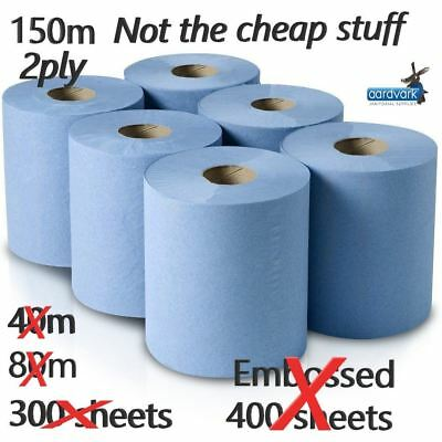 2 Premium Quality 2ply Blue Centrefeed Rolls 6 Rolls x 150m Multi-Purpose Wipes
