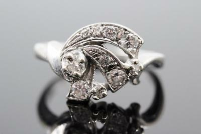Art Deco Vintage 14K White Gold Fancy Design .50Ctw Diamond Dinner Ring