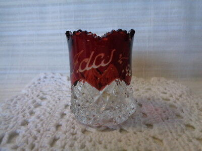 Vintage Cranberry / Clear Glass Toothpick Holder