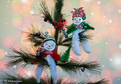 Vintage Inspired Christmas Chenille Feather Tree Ornament Mr Mrs Snowmen Set Red