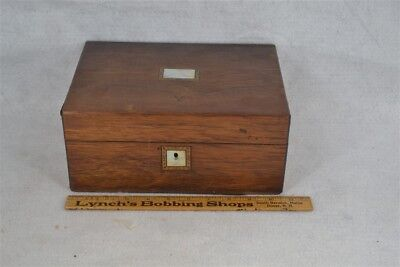 antique sewing box Victoria mahogany fitted divided pearl inlay original 1800