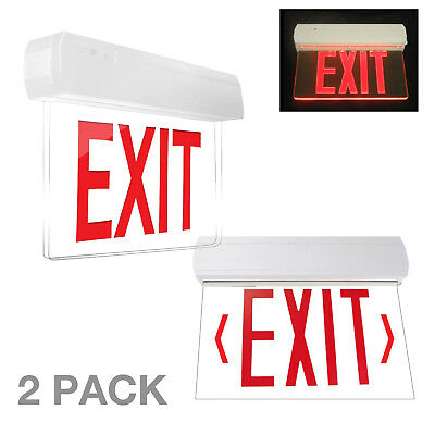 2pcs LED Exit Sign & Emergency Light – High Output - RED Compact Combo