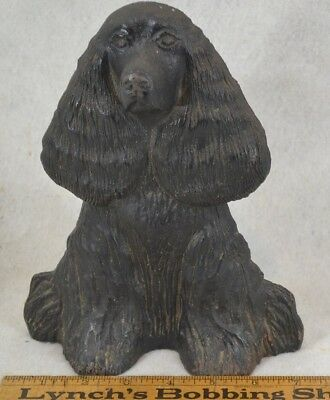 "vintage door stop dog spaniel cast iron ""Dream Boy"" 1949 lg 9 in. original"