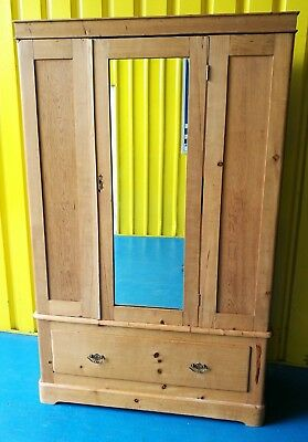 Antique ~Victorian~Stripped Pine ~Double Wardrobe ~Mirror Door ~Drawer ~VGC