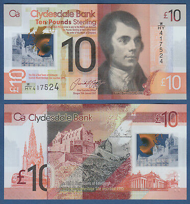 SCHOTTLAND / SCOTLAND Clydesdale Bank 10 Pounds 2017 Polymer UNC P. NEW