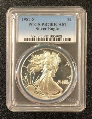 1987-S 1 oz Proof American Silver Eagle Coin PCGS PR70 DCAM