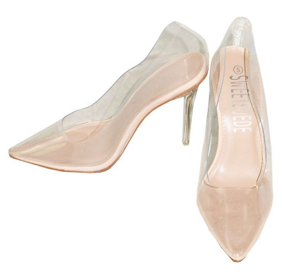 47b4d432af Ladies Womens High Heels Clear Perspex Pointed Toe Pumps Shoes Size Party  New