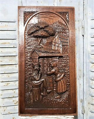 Gothic Gallant Scene Panel Antique French Hand Carved Wood Architectural Salvage