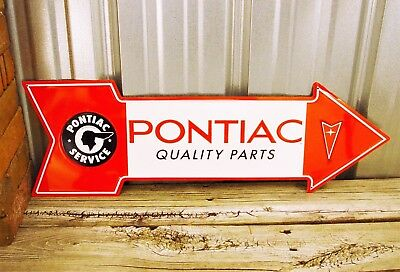 "Pontiac Quality Parts Service 27"" Arrow Metal Tin Sign Large Vintage Garage"