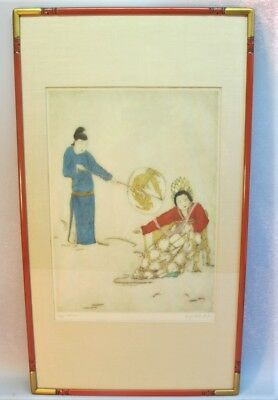 Fine Original Signed ELYSE ASHE LORD Large-Scale Etching  c. 1950  Orientalist