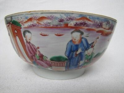 Antique 18th C, Chinese Export Famille Rose Porcelain Bowl for French Market