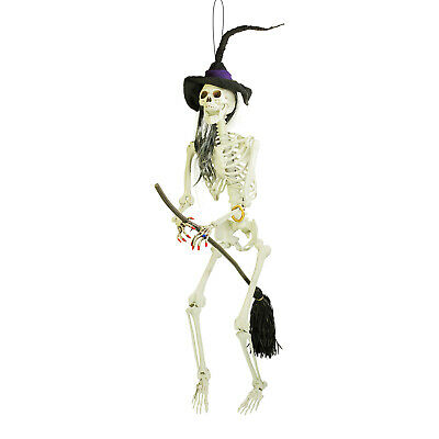 Halloween Haunter 6ft Hanging Scary Skeleton Wicked Witch Flying Broomstick Prop