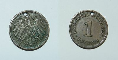 GERMANY :  1 PFENNIG 1896 F - Pierced