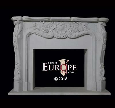 Hand Carved Marble French Style Estate Fireplace Mantel - Md51