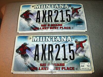 Collectible Montana License Plate Pair Ski & Board The Last Best Place