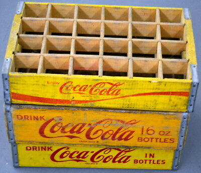 Lot of 3 Vintage Coca-Cola Yellow Wood BOTTLE CASES Carriers Crates 1950s-60s