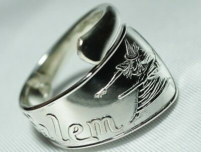 Iconic SALEM WITCH Sterling Souvenir Spoon RING D. Low Halloween Free Shipping