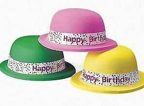 12 Neon 'Happy Birthday' Bowler Party Hats   Kids Birthday Party Hats