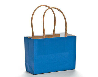 12 Small Blue Kraft Bags for Gifts or Crafts - 115mm Tall | Kids Party Loot Bags