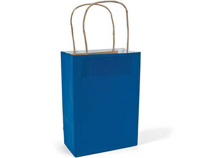 12 Medium Blue Kraft Bags for Gifts or Crafts - 230mm Tall
