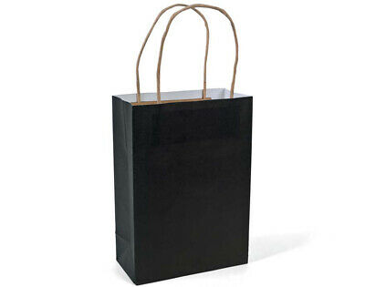 12 Medium Black Kraft Bags for Gifts or Crafts - 230mm Tall