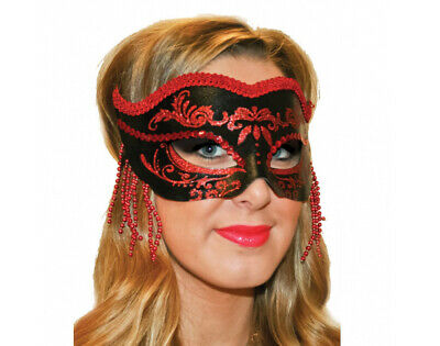 SALE - Black and Red Masquerade Mask with Ribbon (Adults) | Costume Party Masks