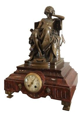 Antique 19th C French Bronze & Rouge Marble Clock
