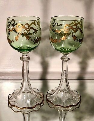 Pair of Antique Moser Decorated Venetian Glass Hock Wine Stems