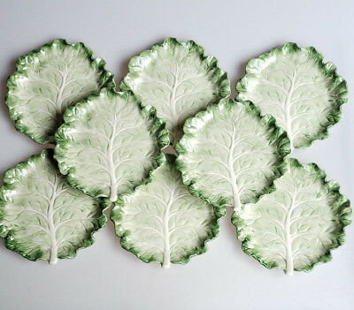 Fitz and Floyd Ironstone cabbage leaf plates set of 8 canape appetizer cocktail