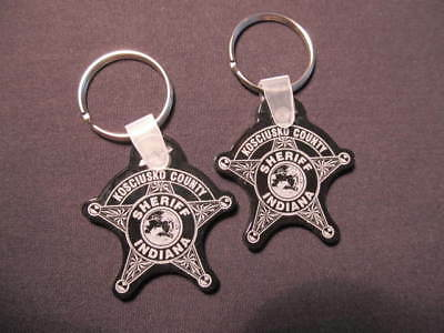 (2) Kosciusko County Indiana Sheriff Badge Rubber Keychains - Police Key Rings