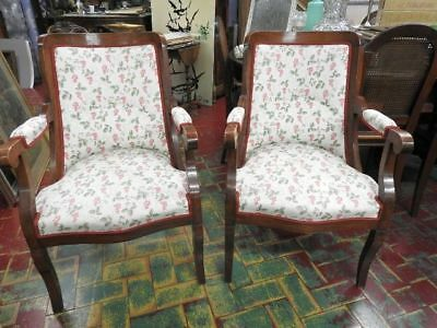 Pair Of Ancient Armchairs Empire Period Beginning 800 Nut Fabric Berries Red