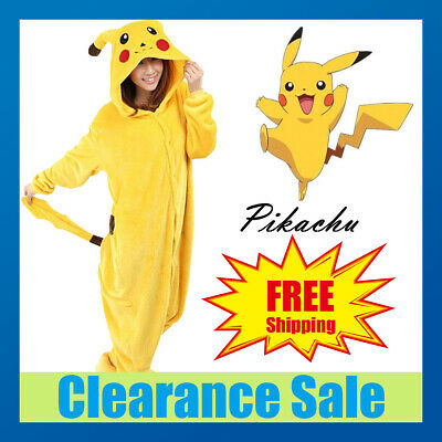Pikachu Adult Kids Fleece Unisex Kigurumi Pajamas Cosplay Costume Sleepwear