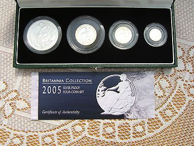 2005 Silver Proof Britannia Four Coin Collection Coa & Cased..royal Mint Issue