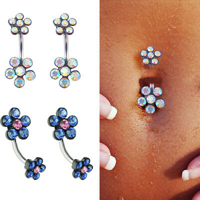 Women Fashion Crystal Navel Ring Belly Button Rings Dangle Pendant Body Piercing