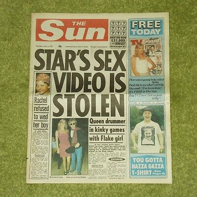 QUEEN/ROGER TAYLOR Sex Video Is Stolen - UK 'THE SUN' NEWSPAPER (May 4th 1991)