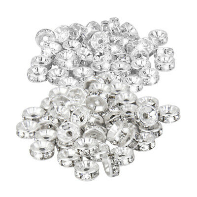 100Pcs Silver Plated Czech Crystal Spacer Rondelle Bead Jewelry Finding8/6mm