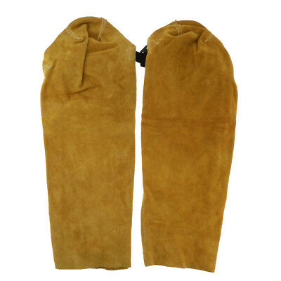One Pair Cow Leather Soldering Sleeves with Button Cuff,Welder's Sleeve