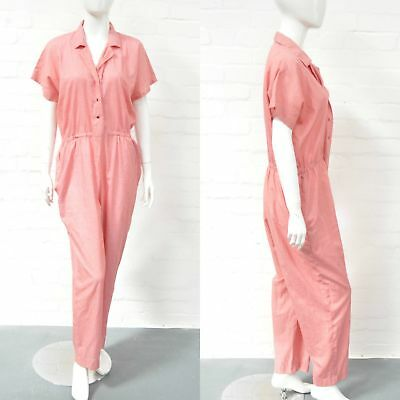 Vintage 70s Handmade Micro Gingham Jumpsuit Red 14 16 18 Everyday Casual