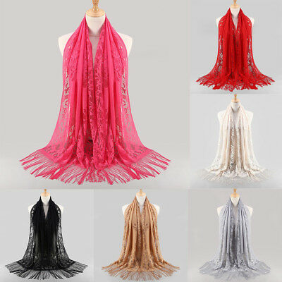 Women Muslim Islamic Tassel Lace Hollow Long Hijab Scarf Shawl Wrap Scarves