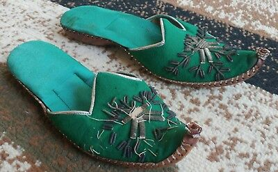 Vintage Handmade Arabian Khussa Womens Leather Shoes Slippers Sz 9