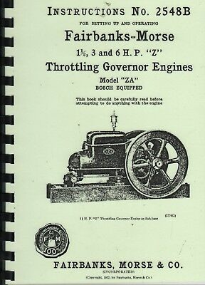 "Fairbanks-Morse 1.5, 3 & 6HP ""Z"" Stationary Engine Instruction Book Inst. 2548B"