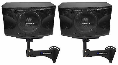 "2) Rockville KPS12 12"" 3-Way 1600w Karaoke/Pro Speakers+Adjustable Wall Brackets"